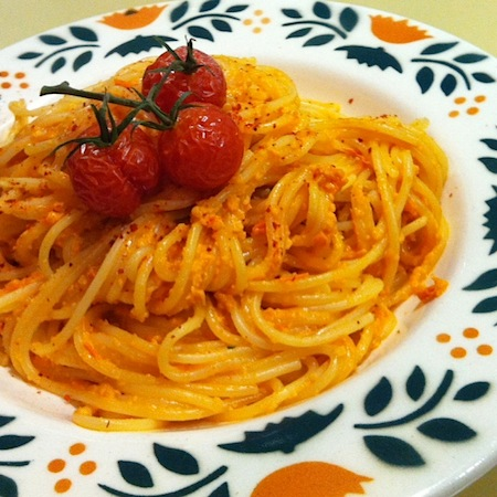 Spaghettini mit Tomaten-Mandel-Pesto