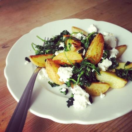 Bratkartoffeln mit Petersiliengemüse