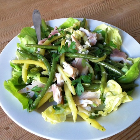 Bohnensalat mit Forelle und Meerrettich
